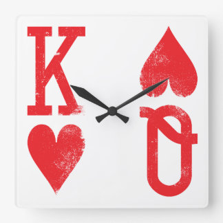King and Queen of Hearts Playing Cards Game Room Wallclocks