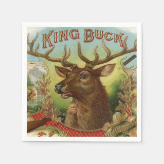King Buck Label Deer Hunting Cabin Decor Taxidermy Paper Napkins
