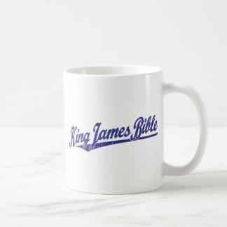 King James Bible Script Logo in blue distressed Coffee Mug