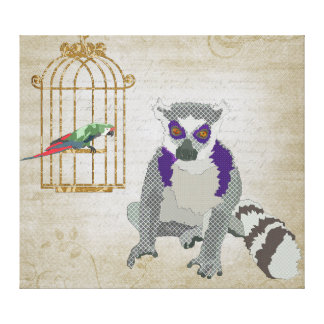 King Jullian & Molly Macaw  Canvas Art Gallery Wrapped Canvas