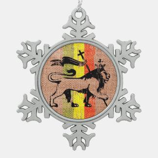 King lion snowflake pewter christmas ornament