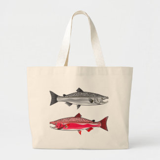 King Salmon. Silver and Spawning. Large Tote Bag