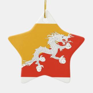 Kingdom of Bhutan flag, dragon fire Christmas Ornament