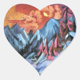 Kirchner: Winter Landscape in Moonlight Heart Sticker