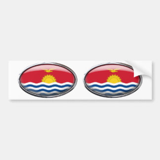 Kiribati Flag in Glass Oval Bumper Sticker