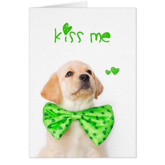 Kiss Me Yellow Labrador Puppy Card
