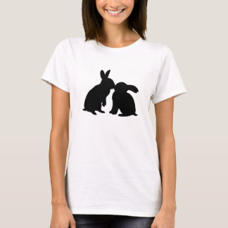 Kissing Bunny Rabbits T-shirt (black silhouette)