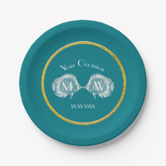 Kissing Fish Gold Ring Personalize 7 Inch Paper Plate