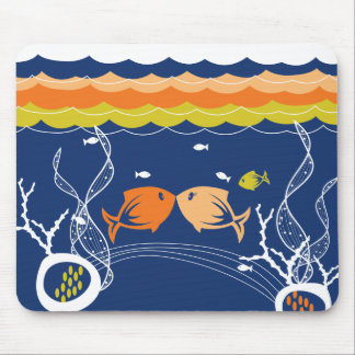 Kissing Fishes Corals Seaweeds Underwater Sea Mouse Pad