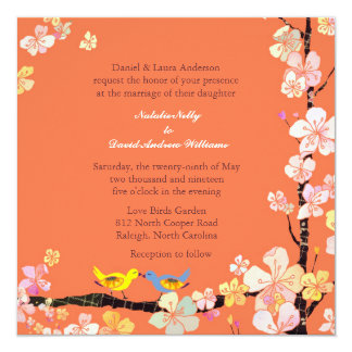 Kissing Love Birds Orange Wedding 13 Cm X 13 Cm Square Invitation Card