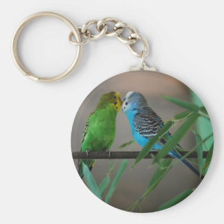 kissing parakeets basic round button key ring