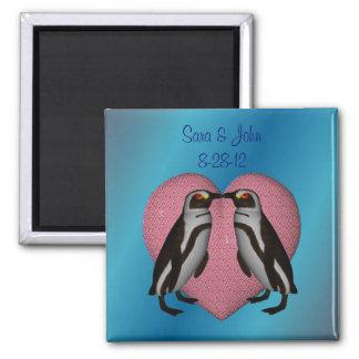 Kissing Penguins Cute Wedding Favor Magnet