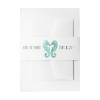 Kissing Seahorses Invitation Belly Band Turquoise
