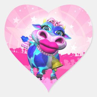 Kissy Moo Heart Stickers