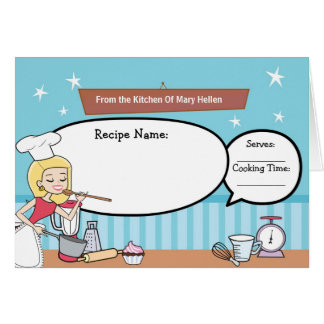 Kitchen Art Recipe Note Card Fill in the Blanks
