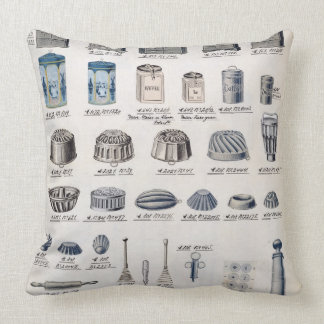 Kitchen storage and utensils from a trade catalogu throw pillow