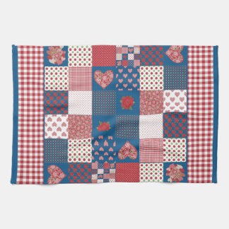 Kitchen Towel, Tea Towel, Faux-Patchwork, Gingham Towel