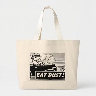 Kitsch Vintage Auto Car 'Eat Dust' Jumbo Tote Bag