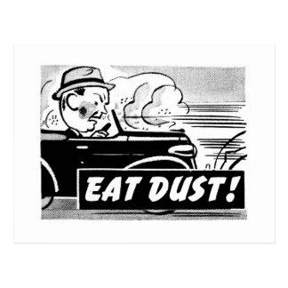 Kitsch Vintage Auto Car 'Eat Dust' Postcard