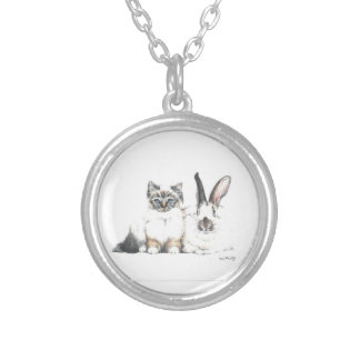 Kitten and Bunny Round Pendant Necklace