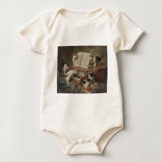 Kitten and piano baby bodysuit