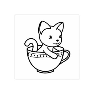 Kitten in a Cup - Cat in a Teacup Rubber Stamp