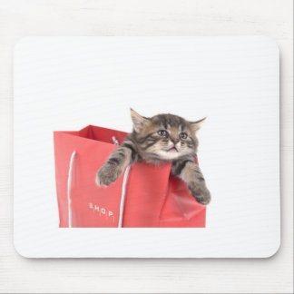 kitten in has bag red mouse pad