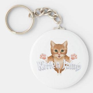 Kitten Jump Title Basic Round Button Key Ring
