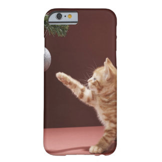 Kitten playing with Christmas bauble on tree Barely There iPhone 6 Case