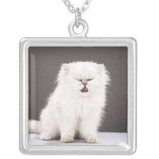 Kitten with Eyes Closed Silver Plated Necklace
