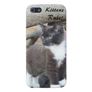 Kittens Rule -Tuxedo Kitten iPhone 5 case