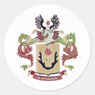 Kittinger Family Coat of Arms (Family Crest) Round Sticker