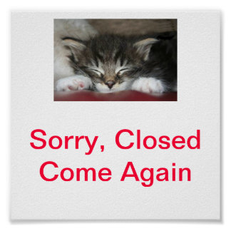 Kitty Cat Closed Sign For Business