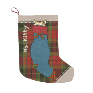 Kitty Cat Hiding Out in Plaid Small Christmas Stocking