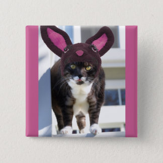 Kitty Cat Wearing Bunny Ears 15 Cm Square Badge
