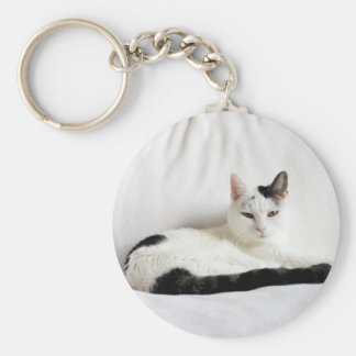 Kitty Cat, White and Black Cat Relaxing Basic Round Button Key Ring