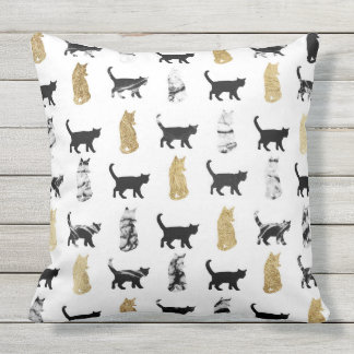 Kitty Cats in Gold and Black and White Marble Throw Pillow
