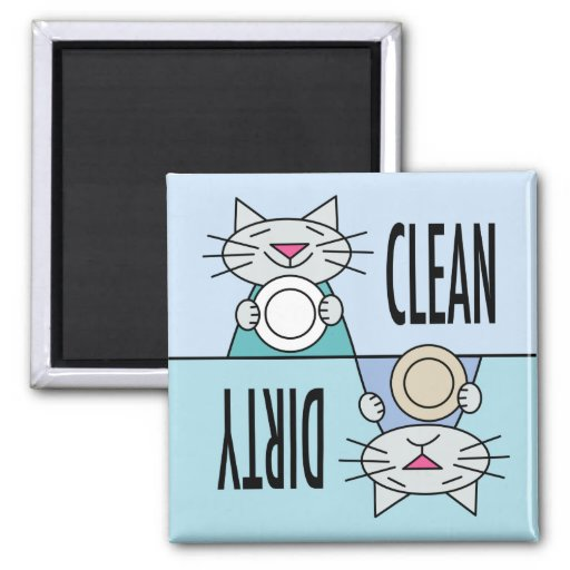 Kitty dishwasher clean dirty fridge magnet