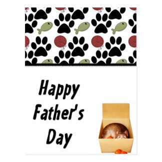 Kitty in a Box - Funny Happy Father's Day Postcard