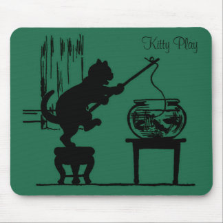 Kitty Play Green Cat Silhouette Mouse Pad
