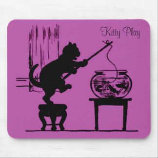 Kitty Play Pink Cat Silhouette Mouse Pad