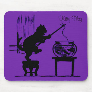 Kitty Play Purple Cat Silhouette Mouse Pad
