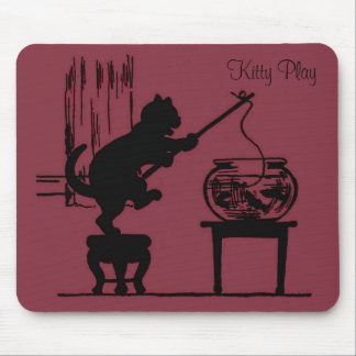 Kitty Play Red Cat Silhouette Mouse Pad