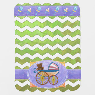 Kiwi Bash Green Chevron Baby Stuff Buggy Blanket