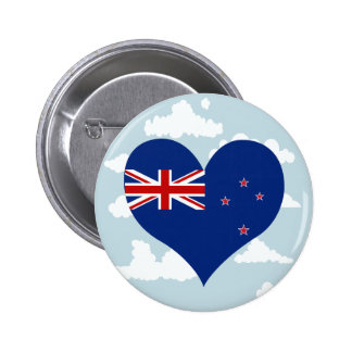 Kiwi Flag on a cloudy background 2 Inch Round Button