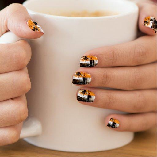 kline - orange, black, and white paint streaks minx ® nail wraps