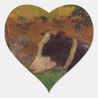 Kneeling cow by Paul Gauguin Heart Sticker