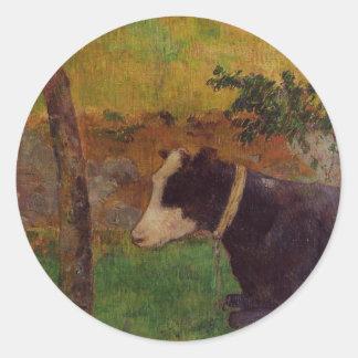 Kneeling cow by Paul Gauguin Round Sticker