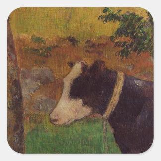 Kneeling cow by Paul Gauguin Square Sticker