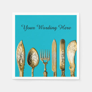 Knife fork spoon gold turquoise disposable napkin